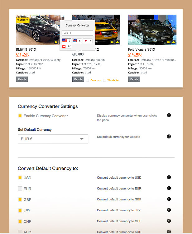 auto dealer currency converter