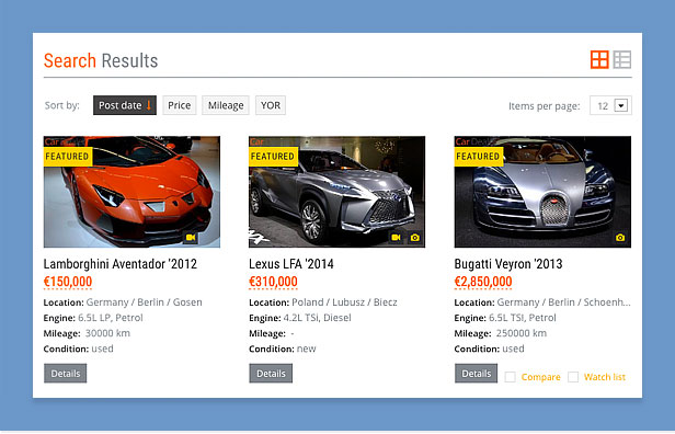 car dealer wordpress theme filtering