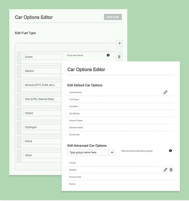 car options editor