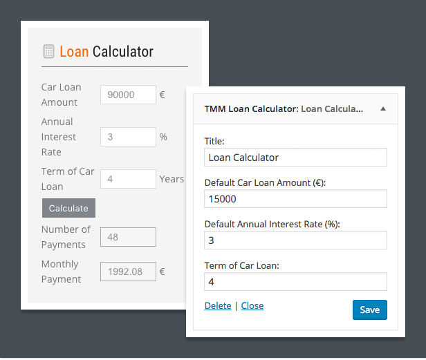 dealership wordpress theme loan calculator