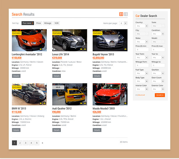 wordpress car theme search
