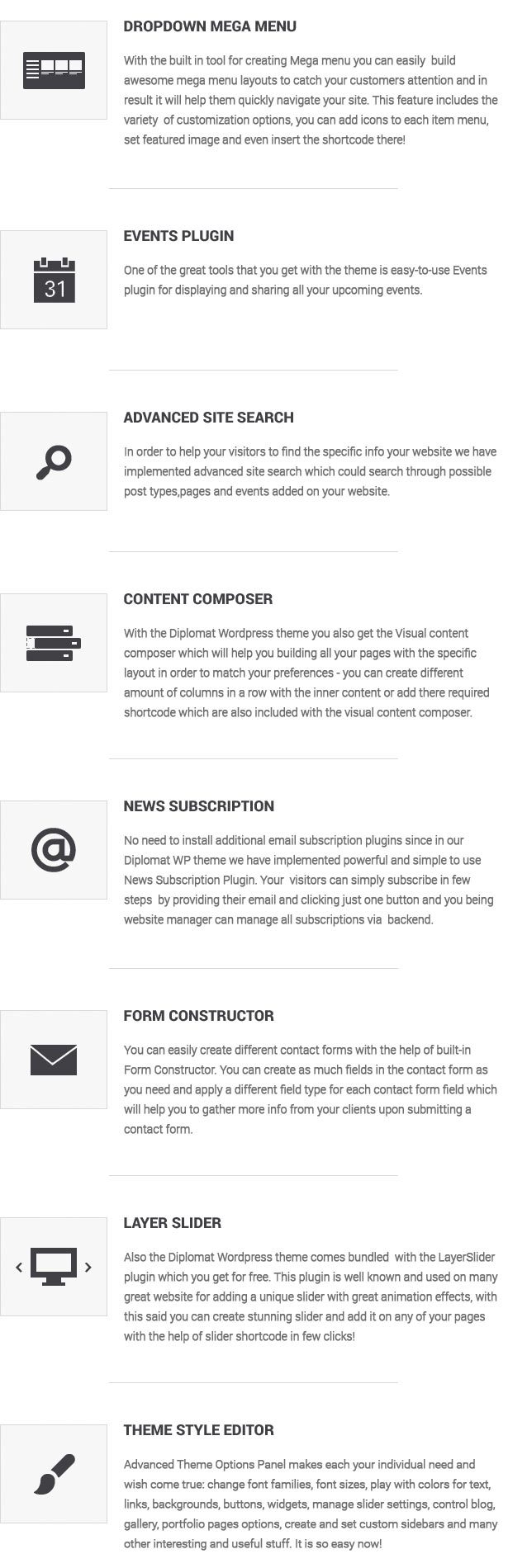 website template features list