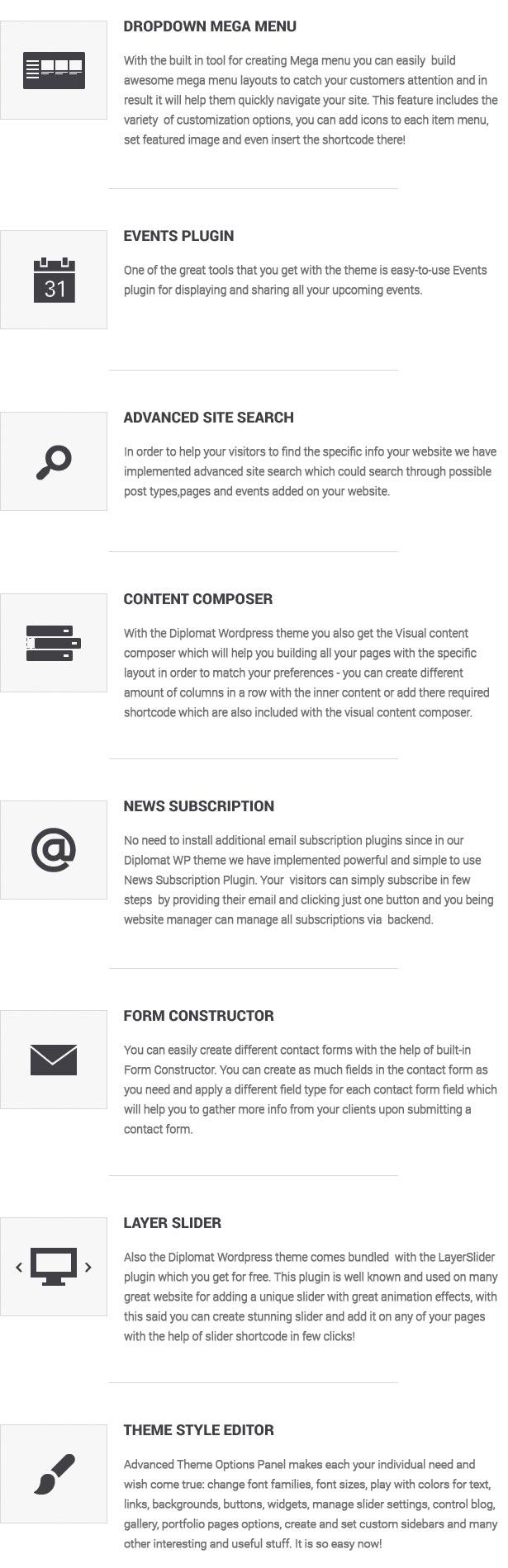 website template features list